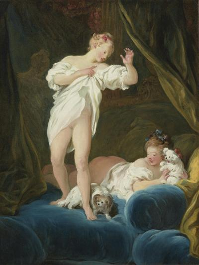 Two Girls on a Bed Playing with their Dogs-Jean-Honor? Fragonard-Giclee Print