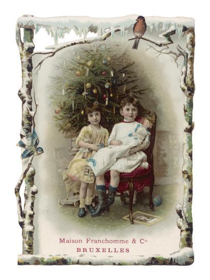 Two Girls Sit by the Tree with their Dolls--Giclee Print