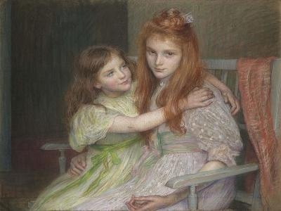 Two Girls Sitting on a Bench-Louise-Cathérine Breslau-Giclee Print