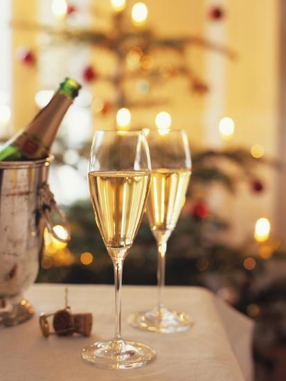 Two Glasses of Sparkling Wine for Christmas Party-Joerg Lehmann-Photographic Print
