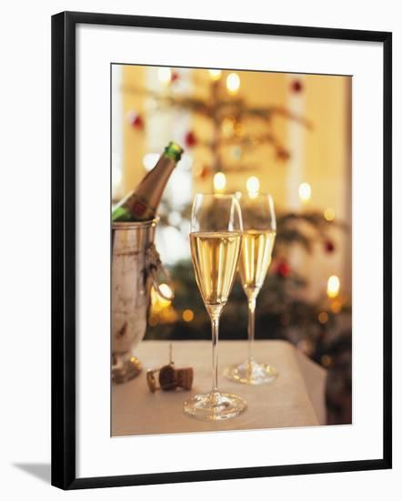 Two Glasses of Sparkling Wine for Christmas Party-Joerg Lehmann-Framed Photographic Print