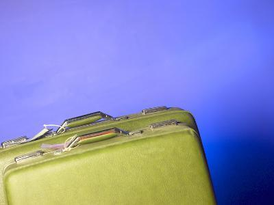 Two Green Vintage Suitcases with Travel Tags--Photographic Print