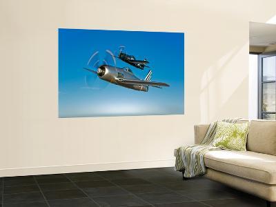 Two Grumman F8F Bearcats in Flight-Stocktrek Images-Wall Mural