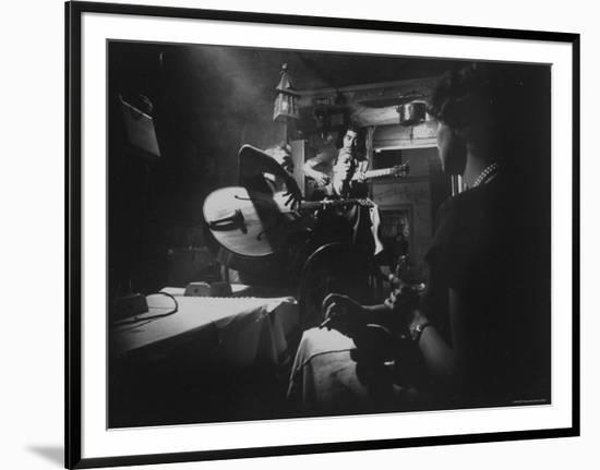 Two Guitarists and Vocalist Entertaining at Club Chez Genevieve-Gjon Mili-Framed Photographic Print