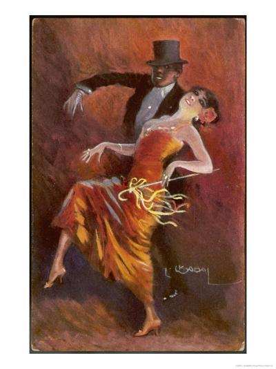 Two Handsome Dancers Strut Their Thing in Fine Style Giving the Cake-Walk Almost a Sinister Look-L. Usobol-Giclee Print