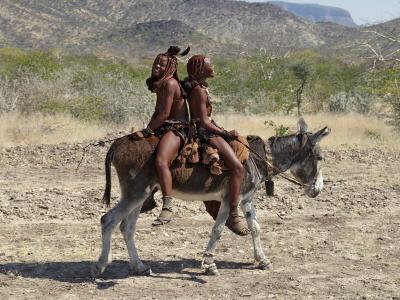 Two Happy Himba Girls Ride a Donkey to Market, Namibia-Nigel Pavitt-Photographic Print