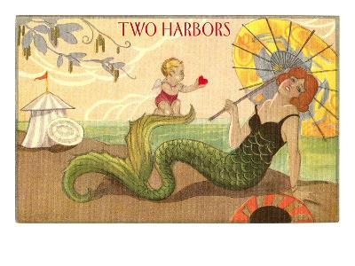 Two Harbors, Mermaid and Cupid--Art Print