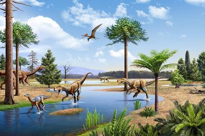 Two Herrerasaurus Dinosaurs Chasing a Silesaurus Down a Stream--Art Print