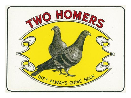 Two Homers Brand Cigar Inner Box Label-Lantern Press-Art Print