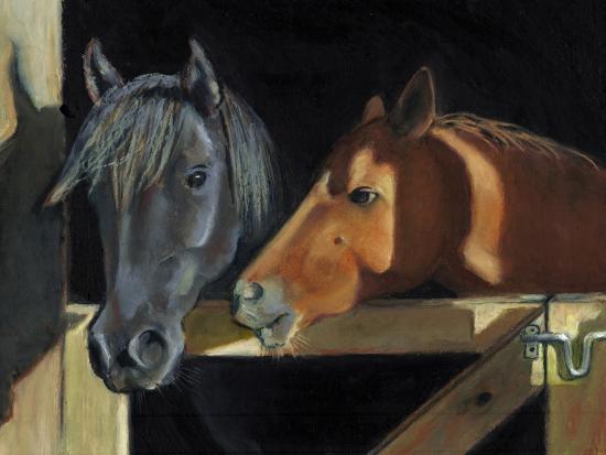 Two Horses At The Stall Gate-joylos-Art Print