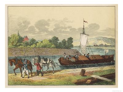 Two Horses Draw a Barge Along a German Canal--Giclee Print