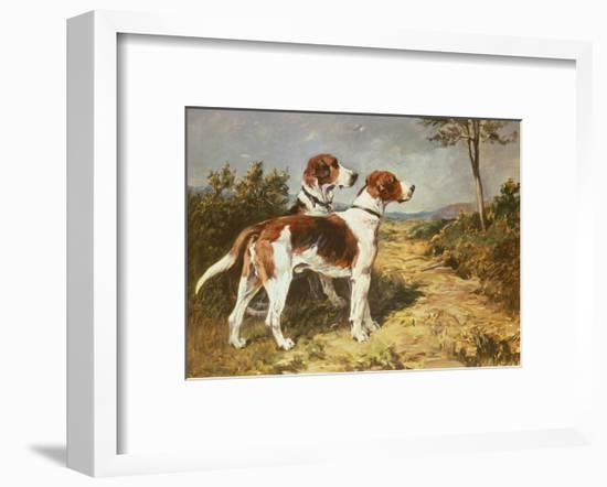 Two Hounds in a Landscape-John Emms-Framed Premium Giclee Print