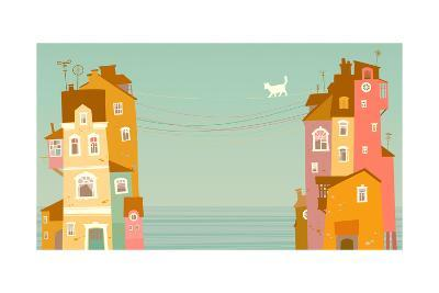 Two Houses on the Background of the Sea, Connected by Wires-polinina-Art Print