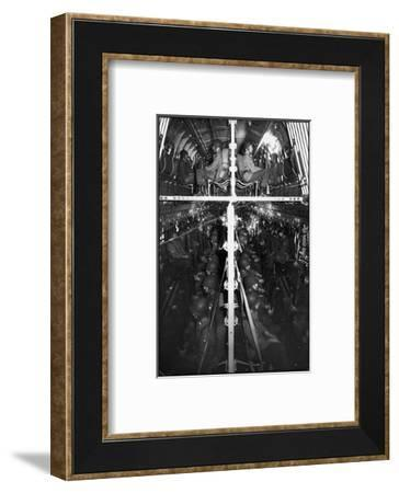 Two Hundred Paratroopers Sitting in Double Decker During Training Maneuvers-Hank Walker-Framed Photographic Print