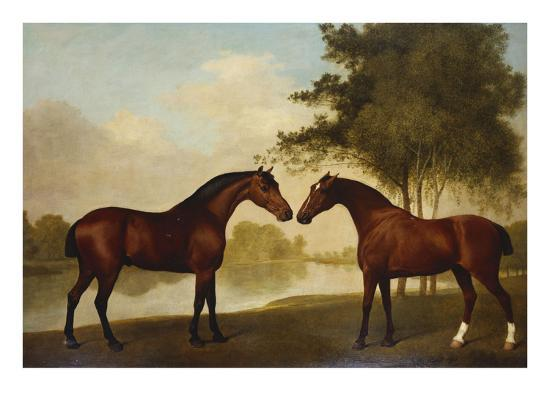 Two Hunters by a Lake-George Stubbs-Giclee Print