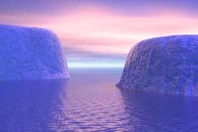 Two Icebergs Face to Face in the Ocean with Pink and Violet Sunrise--Art Print