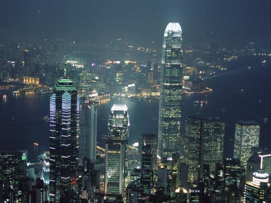 Two Ifc Building on Right and Skyline at Night, from Hong Kong Island, Hong Kong, China, Asia-Amanda Hall-Photographic Print