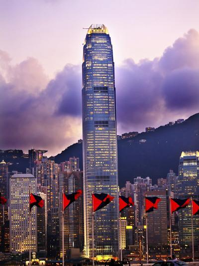 Two International Finance Centre Hong Kong Harbor Sunset Red Flags from Kowloon-William Perry-Photographic Print