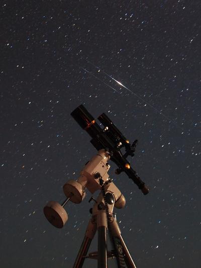 Two Iridium Satellites Flare in the Night Sky over a Telescope-Babak Tafreshi-Photographic Print