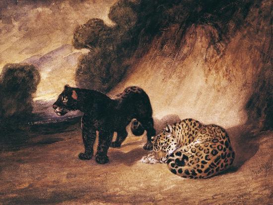Two Jaguars from Peru-Antoine-Louis Barye-Giclee Print