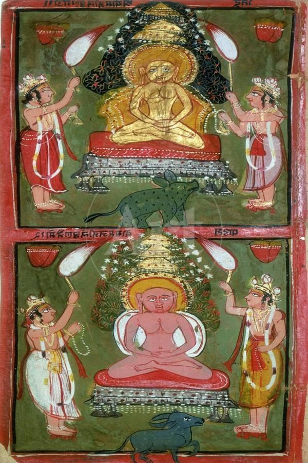 Two Jain Tirthankaras or Jina (Ford-Maker) and their Devotees, Bundi  Region, India, C1720 Giclee Print by | Art com