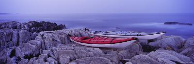 Two Kayaks on a Cliff, Cherry Hill, Nova Scotia, Canada--Photographic Print