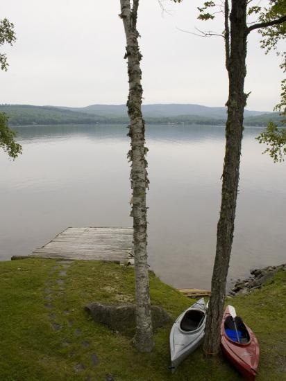 Two Kayaks Sit on Shore at Embden Pond in Maine-Hannele Lahti-Photographic Print