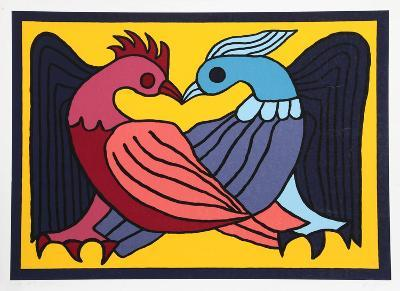 Two Kissing Doves-Victor Delfin-Collectable Print