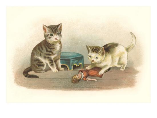 Two Kittens with Doll--Art Print