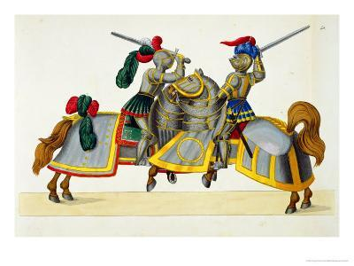 "Two Knights at a Tournament, Plate from ""A History of the Development and Customs of Chivalry""-Friedrich Martin Von Reibisch-Giclee Print"