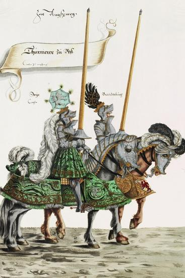 Two Knights in Jousting Armour (Gestech) and Armed with Lances, Illustration from a Facsimile…-Hans Burgkmair-Giclee Print