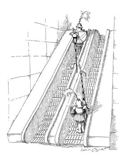 Two knights jousting on opposite escalators. - New Yorker Cartoon-John O'brien-Premium Giclee Print