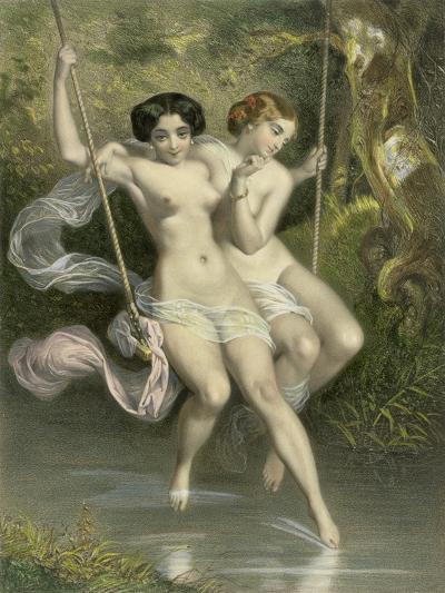 """Two Ladies on a Swing, Illustration from """"Les Sylphides""""-Charles Bargue-Giclee Print"""