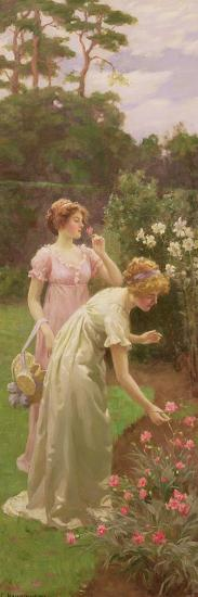 Two Ladies Picking Flowers-Charles Louis Ambroise Thomas-Giclee Print