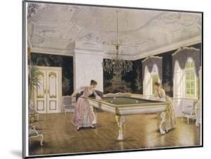 Two Ladies Play in an Elegant Billiard-Room