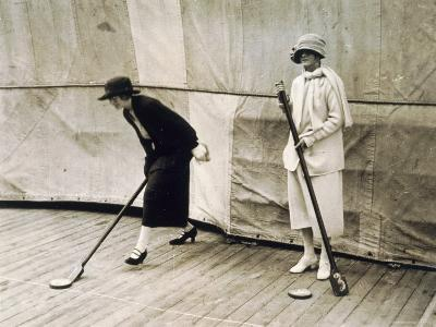 Two Lady Passengers Playing Deck Games on the Boat During the Journey to Egypt, 1923-Harry Burton-Photographic Print