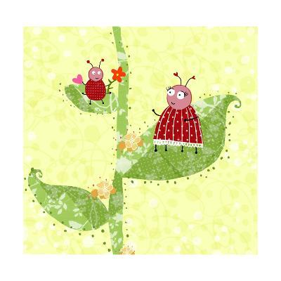 Two Ladybugs Perched on a Plant--Art Print