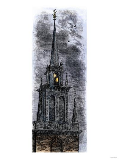 Two Lanterns in the Belfry of the Old North Church, Signalling Paul Revere Ride, 1775--Giclee Print