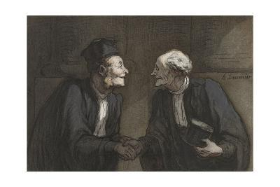 Two Lawyers Shake Hands, C. 1840-60-Honore Daumier-Giclee Print