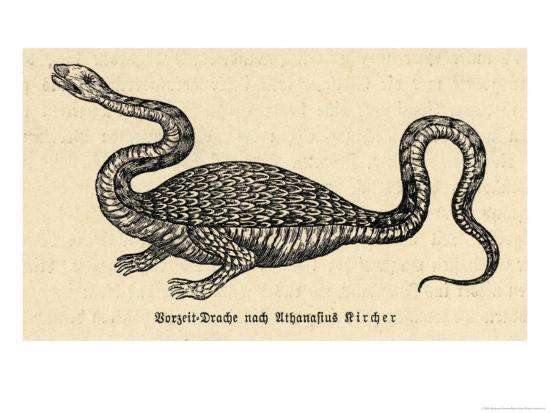 Two-Legged Non-Flying Dragon Perceived as an Animal Species Rather Than an Otherworldly Monster-Athanasius Kircher-Giclee Print