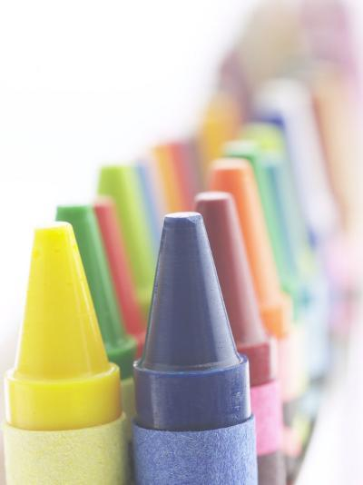 Two Lines of Pointed Wax Crayons of Various Different Colors--Photographic Print