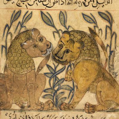 Two Lions-Aristotle ibn Bakhtishu-Giclee Print