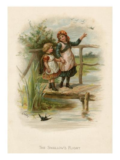 Two Little Girls Cross a River by Means of a Rustic Bridge; Swallows Fly around Them--Giclee Print
