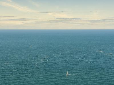 Two Lone Yachts in a Blue Sea, France, Europe-Craig Easton-Photographic Print