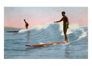 Two Long Board Surfers