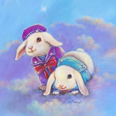Two Lop Eared Bunnies Mouse and Two Bunnies in Clouds I-Judy Mastrangelo-Giclee Print