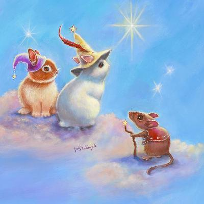 Two Lop Eared Bunnies Mouse and Two Bunnies in Clouds II-Judy Mastrangelo-Giclee Print