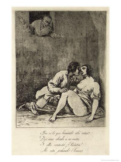 Two Lovers in a Courtyard, 1880's-Francisco de Goya-Giclee Print