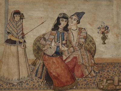 Two Lovers. Qajar Persia, Ah 1254 / 1838 Ad--Giclee Print