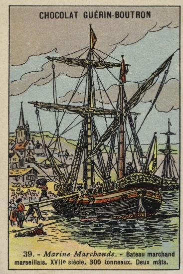 Two-Masted Merchant Ship of Marseilles, 17th Century--Giclee Print